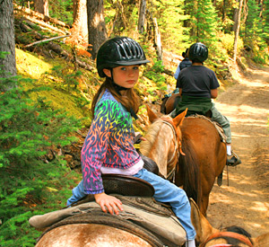 girl horseback riding in pollock pines
